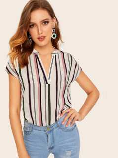 V-cut Striped Top