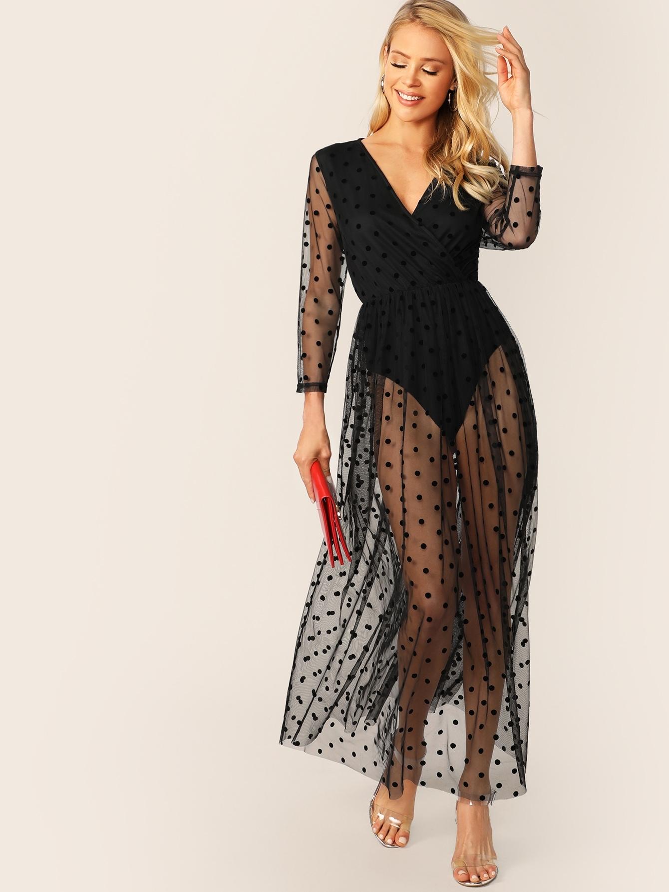 Фото - Сетчатое платье в горошек с вставкой боди от SheIn цвет чёрные