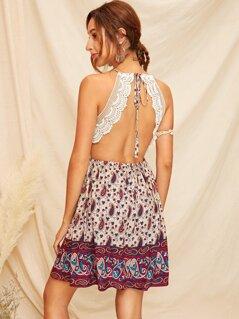 Paisley Print Lace Insert Backless Slip Dress