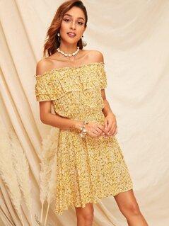 Ditsy Floral Print Off Shoulder Frill Trim Dress