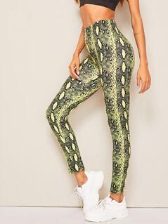 Neon Yellow Snakeskin Print Leggings