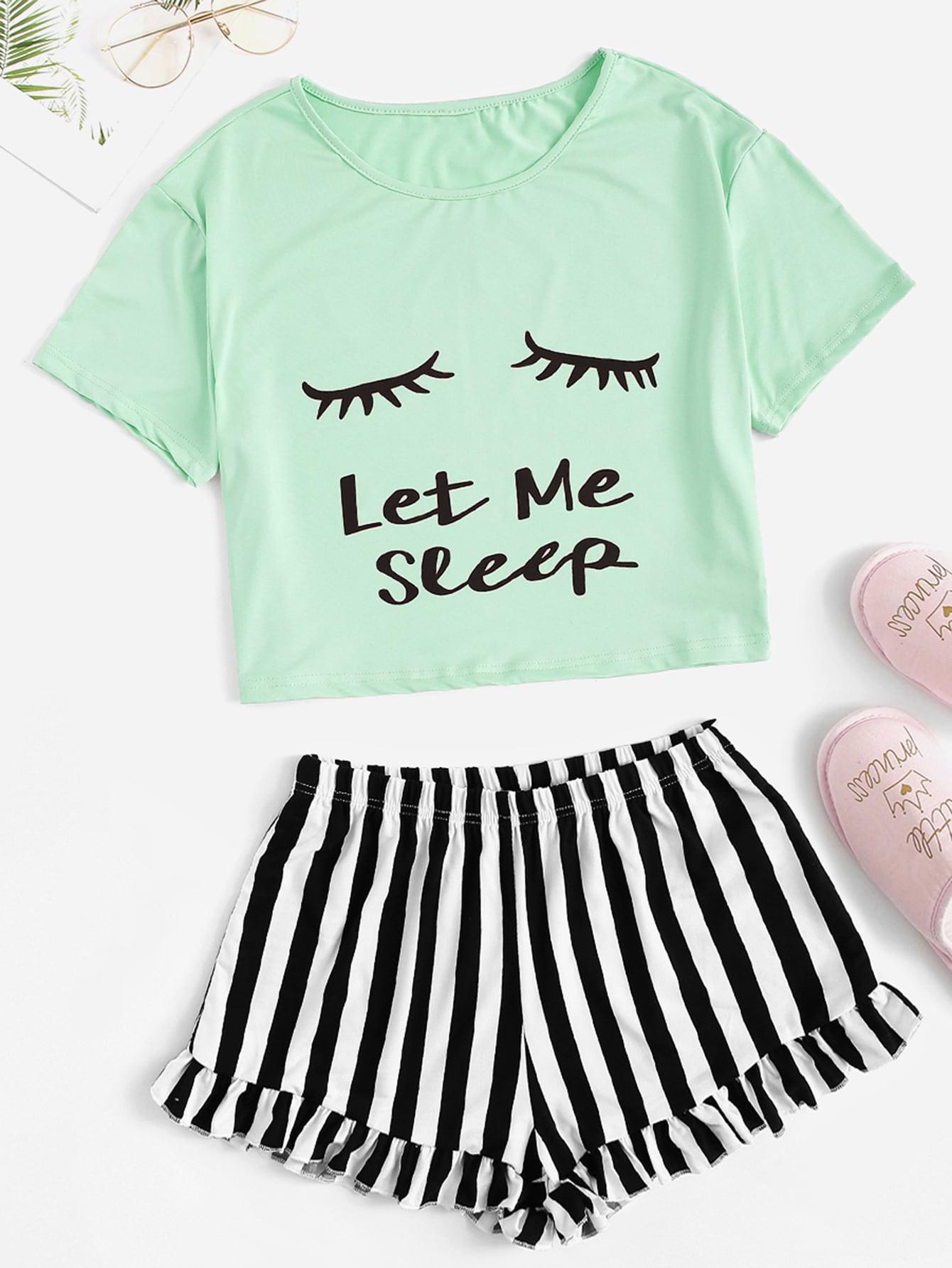 Фото - Топ с принтом глаза и письма и полосатые шорты с оборкой пижама комплект от SheIn цвет многоцветный