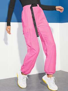 Neon Pink Push Buckle Waist Flap Pocket Side Pants
