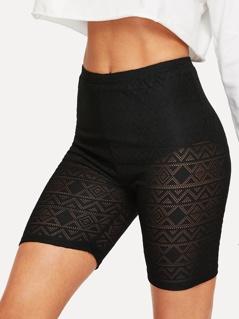Aztec Print Sheer Cycling Shorts