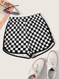 Checker Print Dolphin Hem Shorts