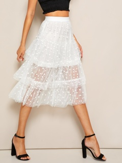 Tiered Dot Mesh Overlay Frill Detail Skirt