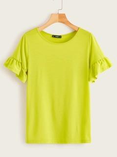 Neon Lime Flounce Sleeve Tee