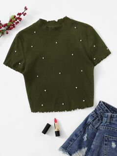 Pearl Embroidered Lettuce Trim Rib-knit Tee