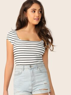 Slim Fitted Rib-knit Striped Tee