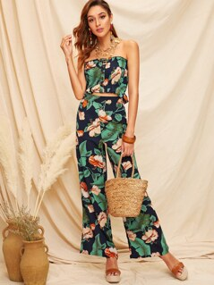 Frilled Trim Shirred Tropical Tube Top & Palazzo Pants Set