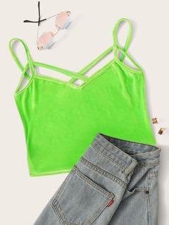 Neon Lime Strappy Neck Velvet Cami Top