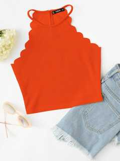 Neon Orange Scallop Edge Halter Top