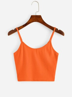 Neon Orange Crop Cami Top