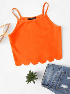Neon Orange Scallop Hem Cami Top