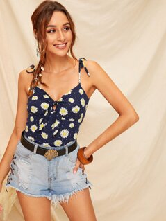 Knot Shoulder Tie Front Small Daisy Top