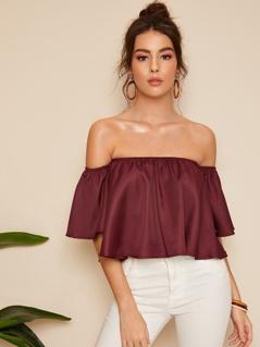 Burgundy Shirred Off The Shoulder Top
