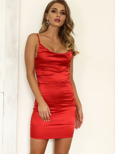 758c88cf1fe6 Cheap Joyfunear Lace-up Back Satin Cami Bodycon Dress for sale Australia |  SHEIN