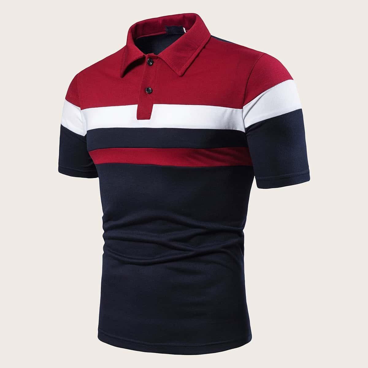 Veel kleurig Sporten Poloshirts voor heren Kleurblok