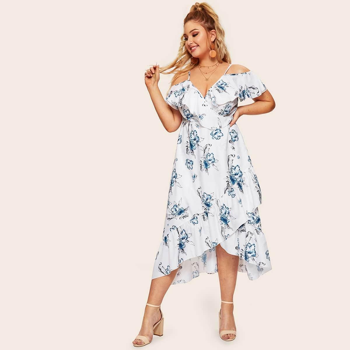 Wit Boho Bloemen Grote maten jurken Rimpeling