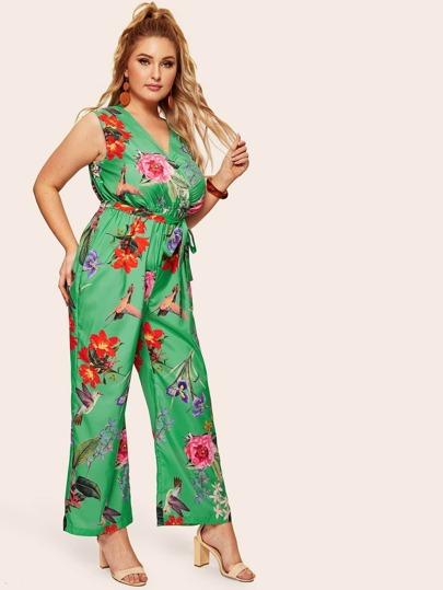 Plus Floral Print Surplice Front Self Tie Jumpsuit