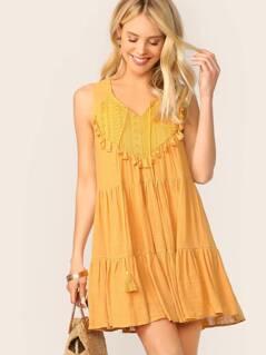 Lace Yoke Tassel Trim Flared Sleeveless Boho Dress
