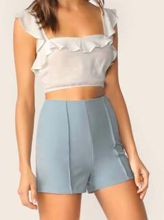 High Waisted Pin Tucked Side Zipper Shorts