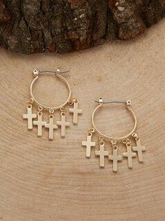 Cross Charms Mini Hoop Earrings