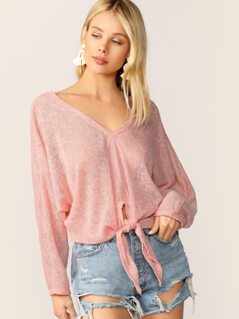 V-Neck Tie Front Boxy Fit Knit Pullover Sweater