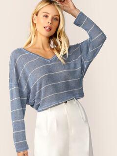 V-Neck Boxy Fit Stripe Pullover Knit Sweater