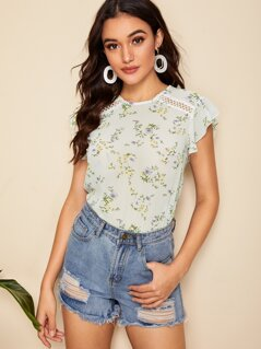 Guipure Lace Insert Ruffle Trim Ditsy Floral Top