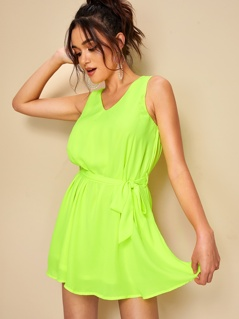 Neon Lime Belted Tank Dress