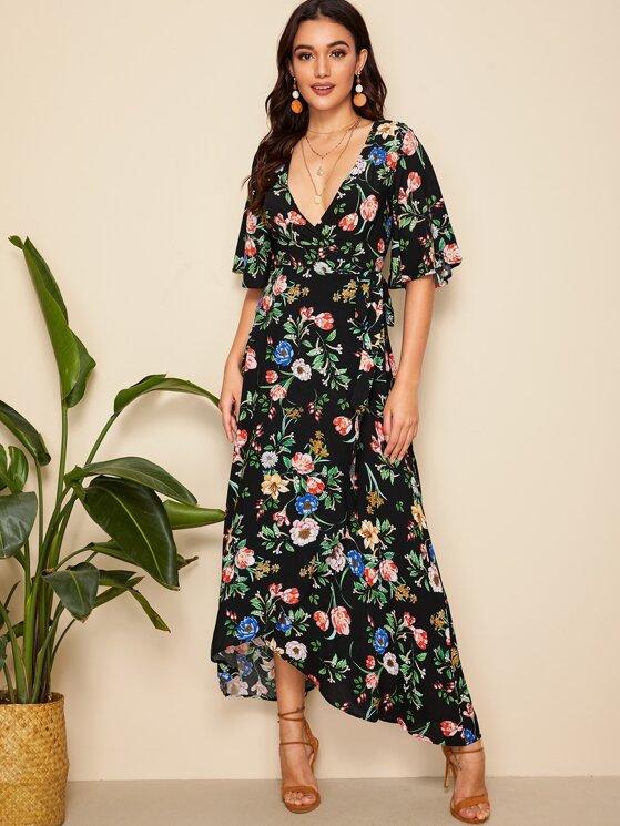 54416d06352 Random Floral Flutter Sleeve Wrap Dress   MakeMeChic.COM