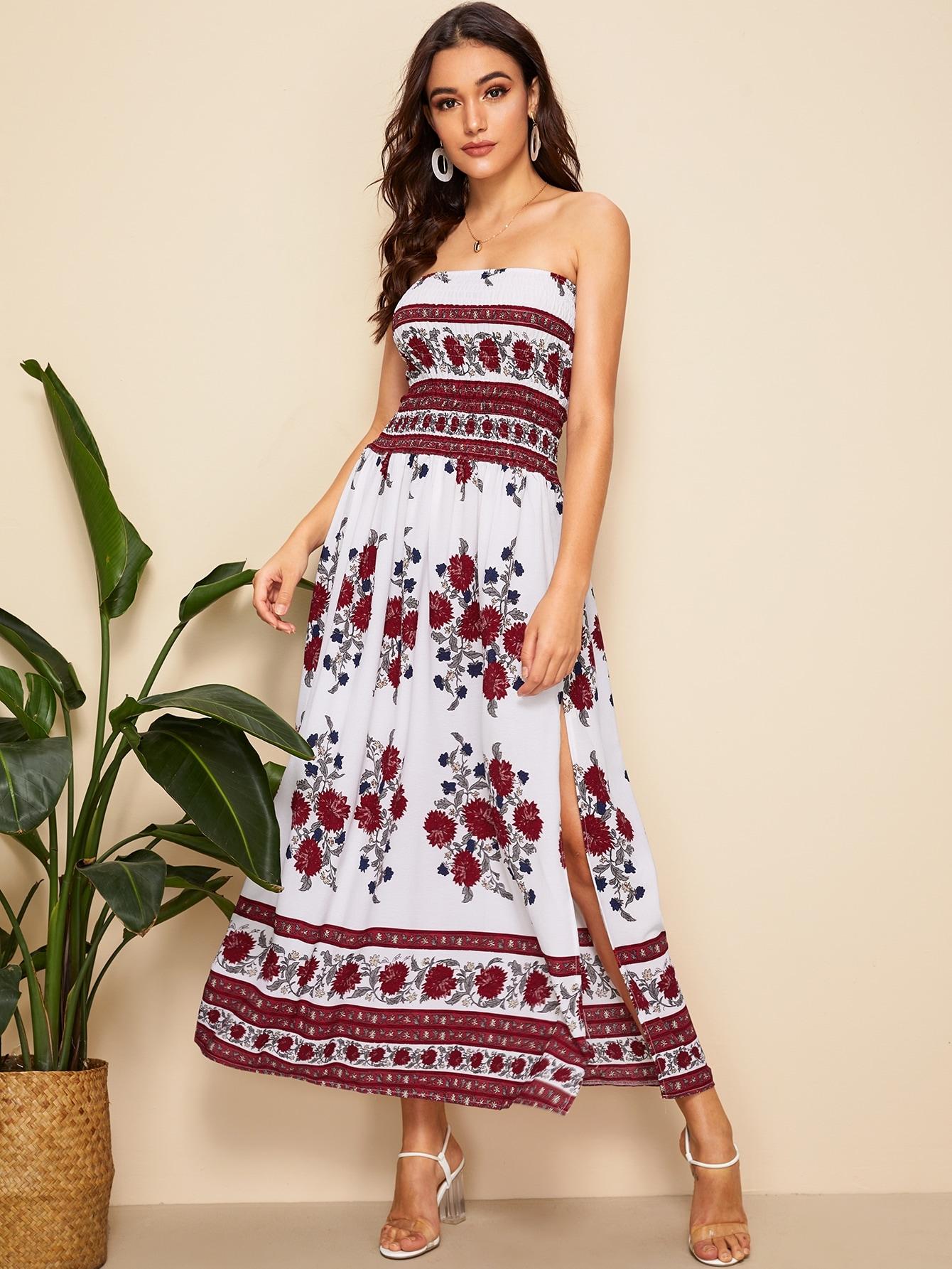 Фото - Платье с разрезом и цветочным принтом от SheIn цвет многоцветный