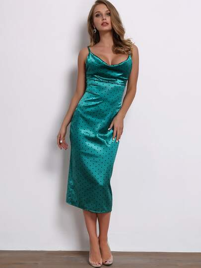 631c6438004a Joyfunear Draped Neck Split Hem Satin Cami Dress | SHEIN