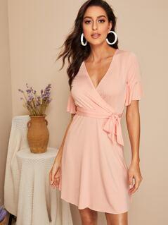 Flounce Sleeve Self Belted Wrap Dress