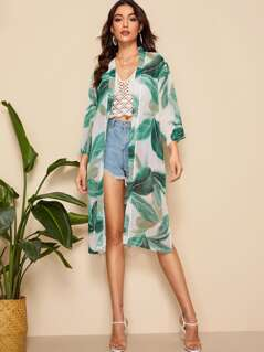 Tropical Print Split Side Semi Sheer Kimono