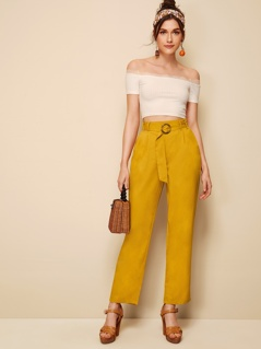 Slant Pocket Buckle Belted Pants