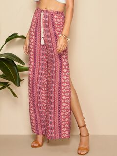 Drawstring Waist Split Thigh Aztec Print Pants