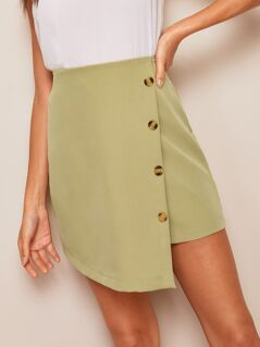 Button Front Wrap Asymmetrical Skirt