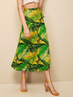 Random Tropical Print Tie Side Wrap Skirt