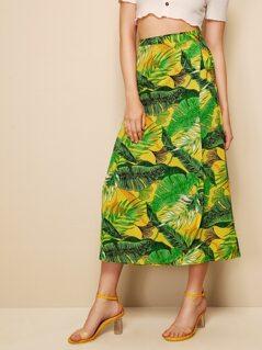 Random Tropical Print Tie Side Wrap Skirt