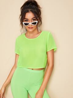 Neon Lime Semi Sheer Crop Top