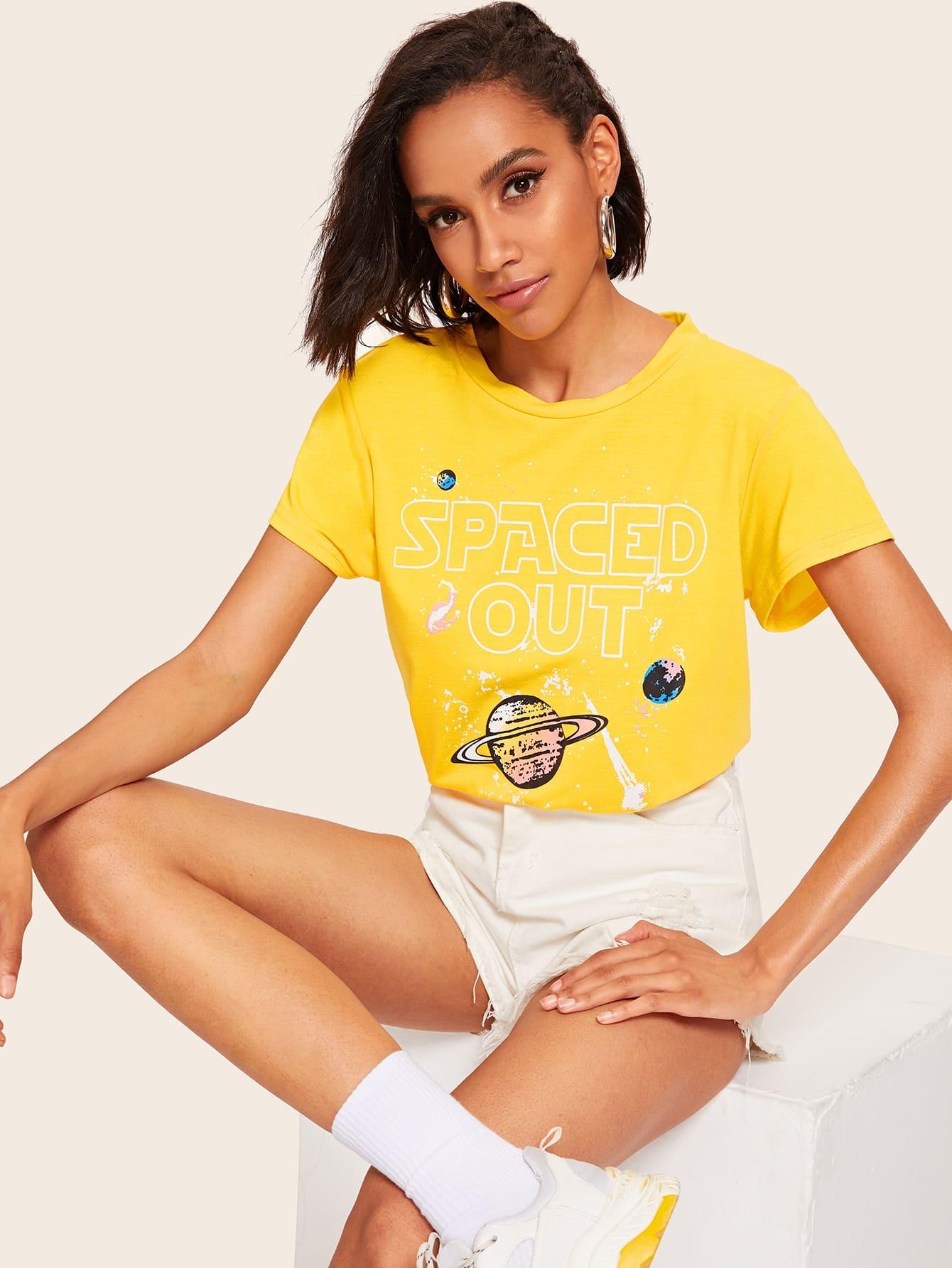 Фото - Топ с графическим текстовым принтом от SheIn цвет жёлтый