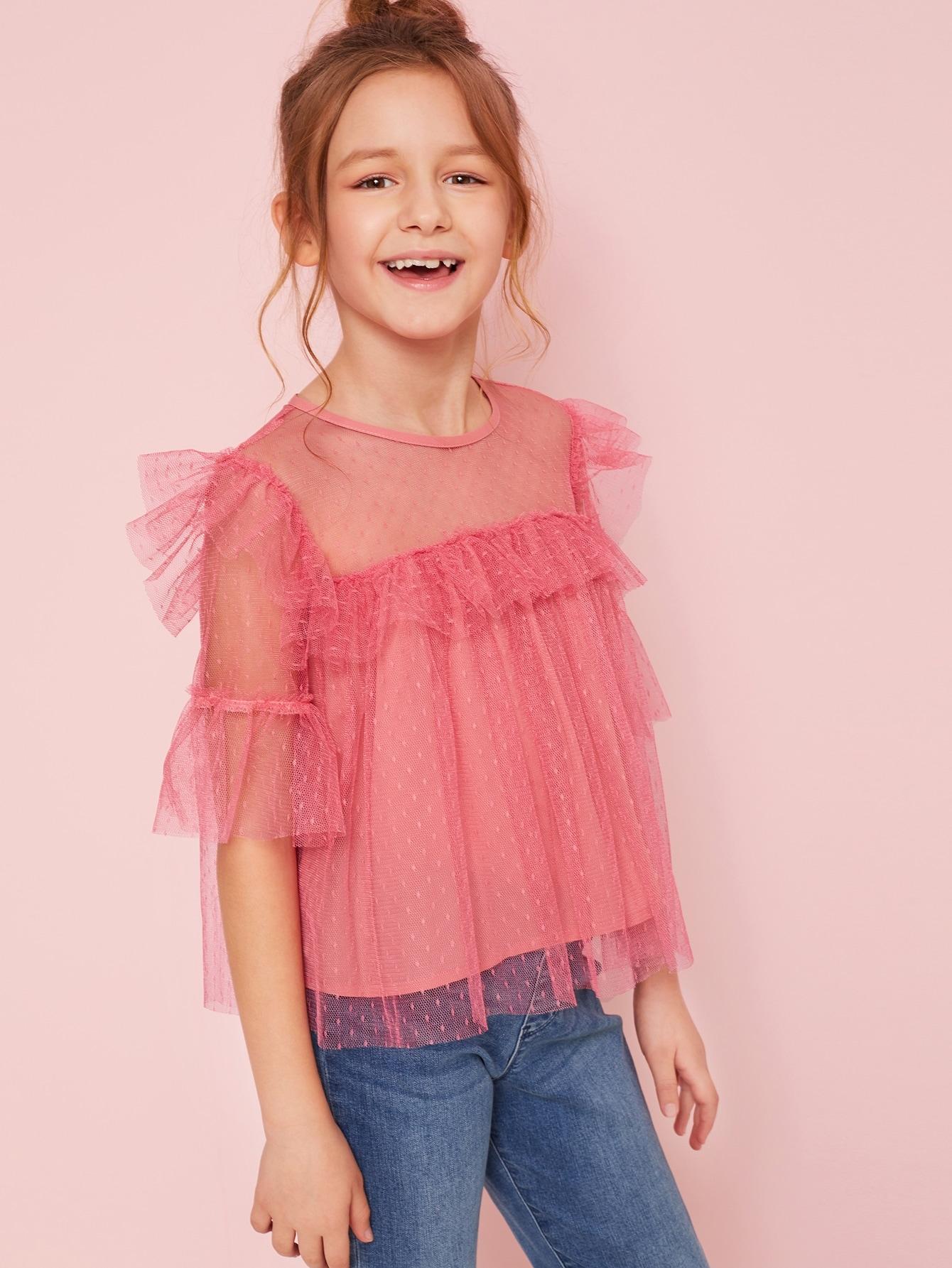 Фото - Сетчатый топ-туника с оборками для девочек от SheIn розового цвета