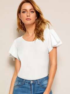 Flutter Sleeve Fitted Top