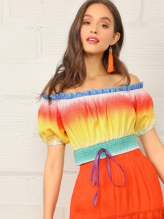 Frill Off Shoulder Shirred Hem Ombre Top