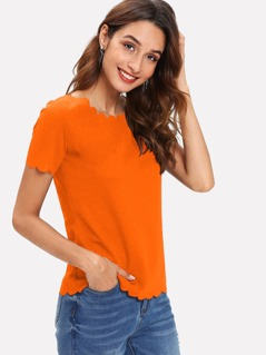 Neon Orange Scallop Edge Top