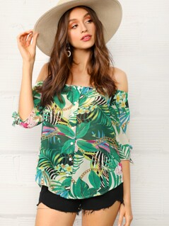 Knotted Sleeve Button Up Tropical Bardot Top