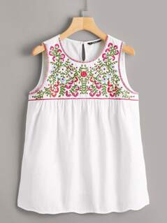 Floral Embroidery Smock Shell Top
