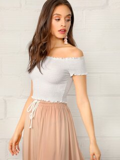 Off Shoulder Frill Trim Shirred Top